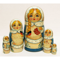 Nesting doll Sergiev-Posad 5 pcs. Winter M