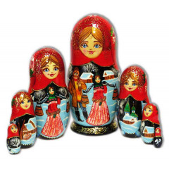 Nesting doll 7 pcs. Couple in village