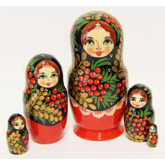 Nesting doll Sergiev-Posad 5 pcs. Mountain ash style Khokhloma