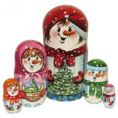 Nesting doll 5 pcs. Snowman