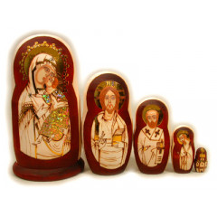 Nesting doll 5 pcs. Religious burned
