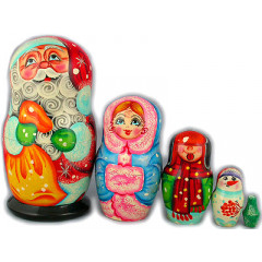 Nesting doll 5 pcs. Santa Claus