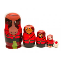 Nesting doll 5 pcs. RCMP Animal big