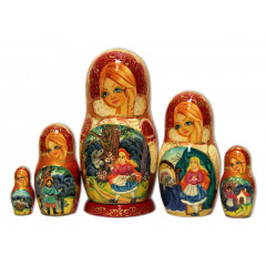Nesting doll 5 pcs. Fairy tale the Red Hat and a grey wolf