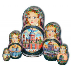 Nesting doll 5 pcs. Cathederals