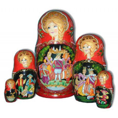 Nesting doll 5 pcs. Cat in boots