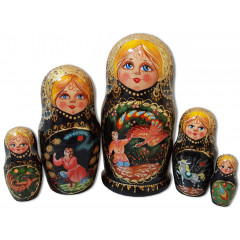 Nesting doll 5 pcs. Fairy tales, the Gold Cockerel, the Firebird