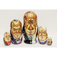 Nesting doll 5 pcs. Leaders of Russia 5 pcs.