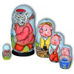 Nesting doll 5 pcs. Three pigs