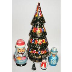Nesting doll 5 pcs. Christmas tree big 22 cm.