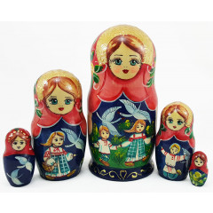 Nesting doll 5 pcs. Geese Swans, M