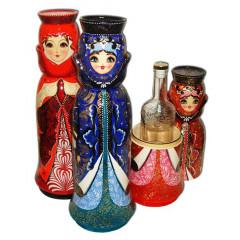Nesting doll Case for bottle Matryoshka with neckband  (0,8 Litre)