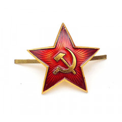 Badge red star single