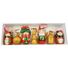 New Year and Christmas christmas tree toy a set of matryoshka dolls red-Zolotoye, 7 items