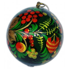 New Year and Christmas christmas tree toy Christmas toy Full-sphere khokhloma 80 mm