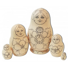 Nesting doll prepared for paint, Eye Brow small (prepared for paint)