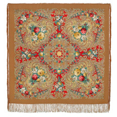Pavlovo Posad Shawl Pavlovoposadskij with wool fringe 125 x 125 1437-2 Mystery of the heart