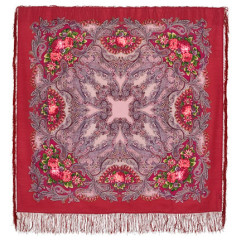 Pavlovo Posad Shawl Pavlovoposadskij with wool fringe 125 x 125 1463-4 Dream of butterfly