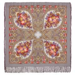 Pavlovo Posad Shawl Pavlovoposadskij with wool fringe 125 x 125 1471-2 Autumn lace