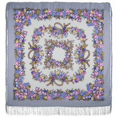 Pavlovo Posad Shawl Pavlovoposadskij with wool fringe 125 x 125 1193-2 Rowan beads