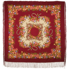 Pavlovo Posad Shawl Pavlovoposadskij with wool fringe 125 x 125 1193-5 Rowan beads