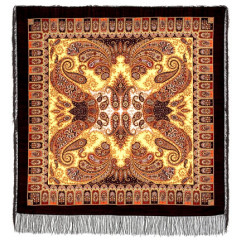 Pavlovo Posad Shawl Pavlovoposadskij with wool fringe 125 x 125 1344-18 Favorite