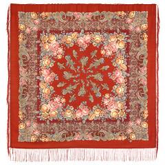 Pavlovo Posad Shawl Pavlovoposadskij with wool fringe 125 x 125 1573-5 Bedtime story