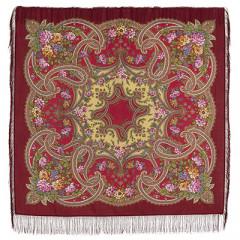 Pavlovo Posad Shawl Pavlovoposadskij with wool fringe 125 x 125 1580-6 Fairy-tale motifs