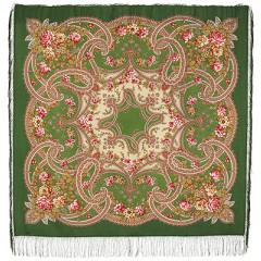 Pavlovo Posad Shawl Pavlovoposadskij with wool fringe 125 x 125 1580-9 Fairy-tale motifs