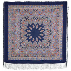 Pavlovo Posad Shawl Pavlovoposadskij with wool fringe 125 x 125 1581-14 Magic dance