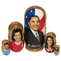 Nesting doll political leaders Barack Obama, family