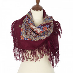Pavlovo Posad Shawl Pavlovoposadskij with wool fringe 89 x 89 1195-7 Gentle evening