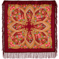 Pavlovo Posad Shawl Pavlovoposadskij with wool fringe 89 x 89 685-4 Evening