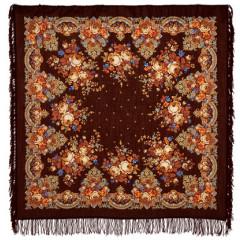 Pavlovo Posad Shawl Pavlovoposadsky with wool fringe 125 x 125 1219-17 Summer twilight