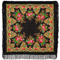 Pavlovo Posad Shawl Pavlovoposadskij with wool fringe 125 x 125 1219-18 Summer twilight