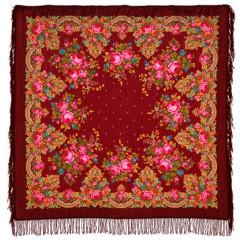 Pavlovo Posad Shawl Pavlovoposadsky with wool fringe 125 x 125 1219-7 Summer twilight