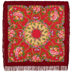 Pavlovo Posad Shawl Pavlovoposadskij with wool fringe 125 x 125 1460-6 Return