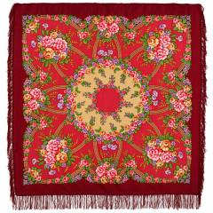Pavlovo Posad Shawl Pavlovoposadskij with wool fringe 125 x 125 1460-6 Return
