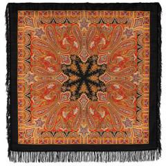 Pavlovo Posad Shawl Pavlovoposadskij with wool fringe 125 x 125 1472-18 Birusinka