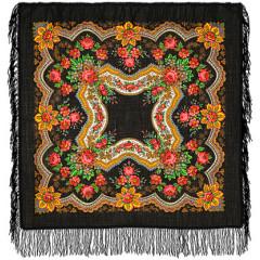 Pavlovo Posad Shawl Pavlovoposadskij with wool fringe 89 x 89 146-18 Golden leaves