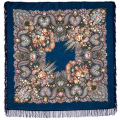 Pavlovo Posad Shawl Pavlovo Posad with wool fringe 146 x 146 734-15 Over silver water