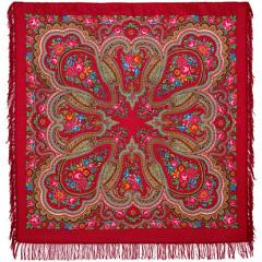 Pavlovo Posad Shawl Pavlovoposadskij with wool fringe 146 x 146 1289-5 Lubava