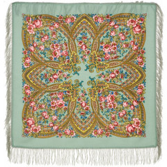 Pavlovo Posad Shawl Pavlovoposadskij with wool fringe 89 x 89 685-12 Evening