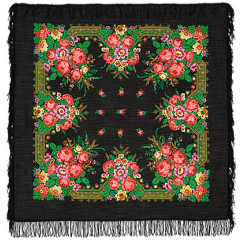 Pavlovo Posad Shawl Pavlovoposadskij with wool fringe 125 x 125 12-26 Yule