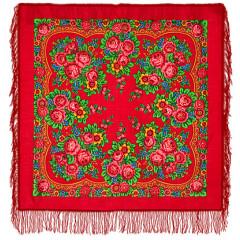 Pavlovo Posad Shawl Pavlovoposadskij with wool fringe 89 x 89 190-5 Matryoshka