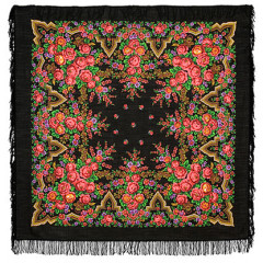 Pavlovo Posad Shawl Pavlovoposadskij with wool fringe 146 x 146 325-18 Russian beauty