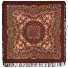 Pavlovo Posad Shawl Pavlovoposadskij with wool fringe 146 x 146 1536-17 Slavic holidays