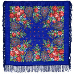Pavlovo Posad Shawl Pavlovoposadskij with wool fringe 89 x 89 148-13 Southern night
