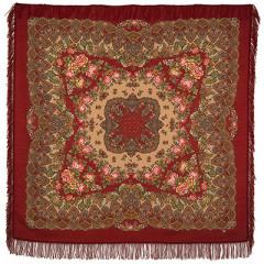 Pavlovo Posad Shawl Pavlovoposadskij with wool fringe 146 x 146 1536-6 Slavic holidays