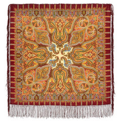 Pavlovo Posad Shawl Pavlovo Posad with silk fringe 89 x 89 1155-7 Saffron